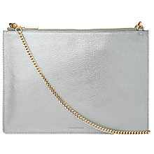 Buy Whistles Metallic Rivington Leather Chain Clutch Bag, Pewter Online at johnlewis.com