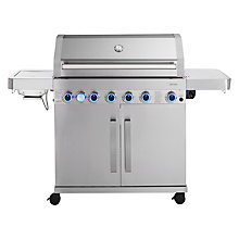 Buy John Lewis 6 Burner Deluxe Gas BBQ with Side Burner, Silver / Black Online at johnlewis.com