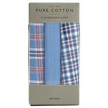 Buy John Lewis Check Handkerchiefs, Pack of 3, Blue/Red Online at johnlewis.com