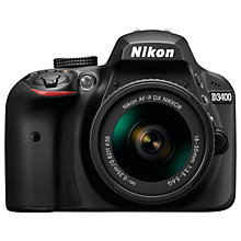 "Buy Nikon D3400 Digital SLR Camera with 18-55mm Lens, HD 1080p, 24.2MP, Optical ViewFinder, 3"" LCD Monitor, Black Online at johnlewis.com"