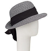 Buy John Lewis Turn Up Brim Packable Tie Detail Fedora Hat, Black Mix Online at johnlewis.com