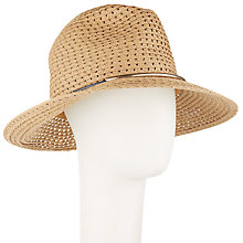 Buy John Lewis Packable Metal Trim Fedora Hat, Natural Online at johnlewis.com