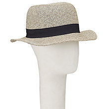 Buy John Lewis Packable Small Brim Ribbon Fedora Hat, Natural/Black Online at johnlewis.com
