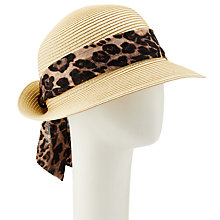 Buy John Lewis Packable Turn Up Brim Animal Scarf Fedora Hat, Natural/Leopard Online at johnlewis.com