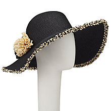 Buy John Lewis Packable Straw Pom Pom Floppy Sun Hat, Black/Cream Online at johnlewis.com