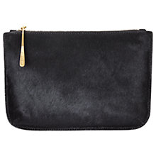 Buy Jigsaw Alana Medium Textured Leather Pouch Clutch, Black Online at johnlewis.com