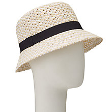Buy John Lewis Cloche Ribbon Detail Hat, Natural/Navy Online at johnlewis.com