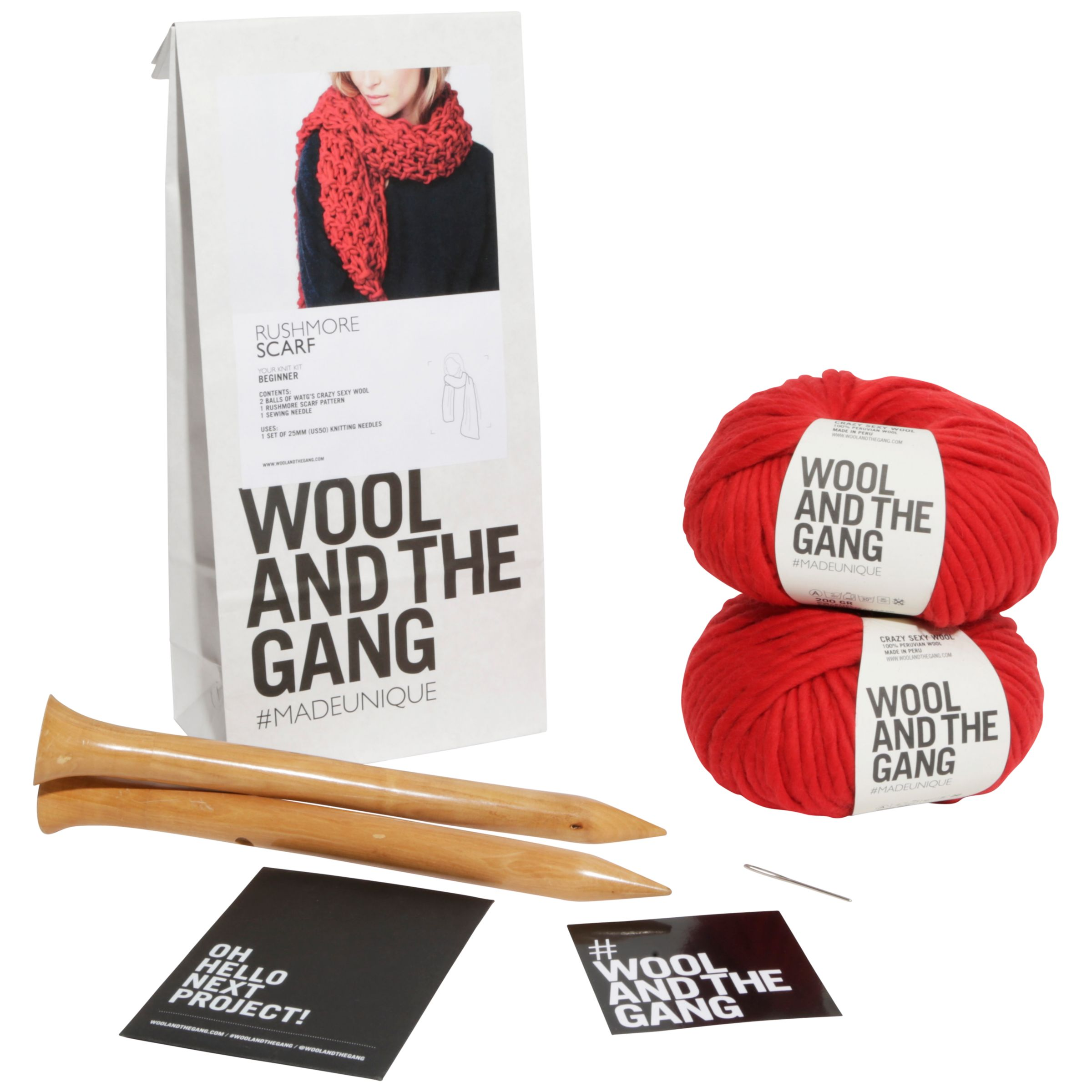 Wool and the Gang Wool and the Gang Rushmore Scarf Knitting Kit, Red