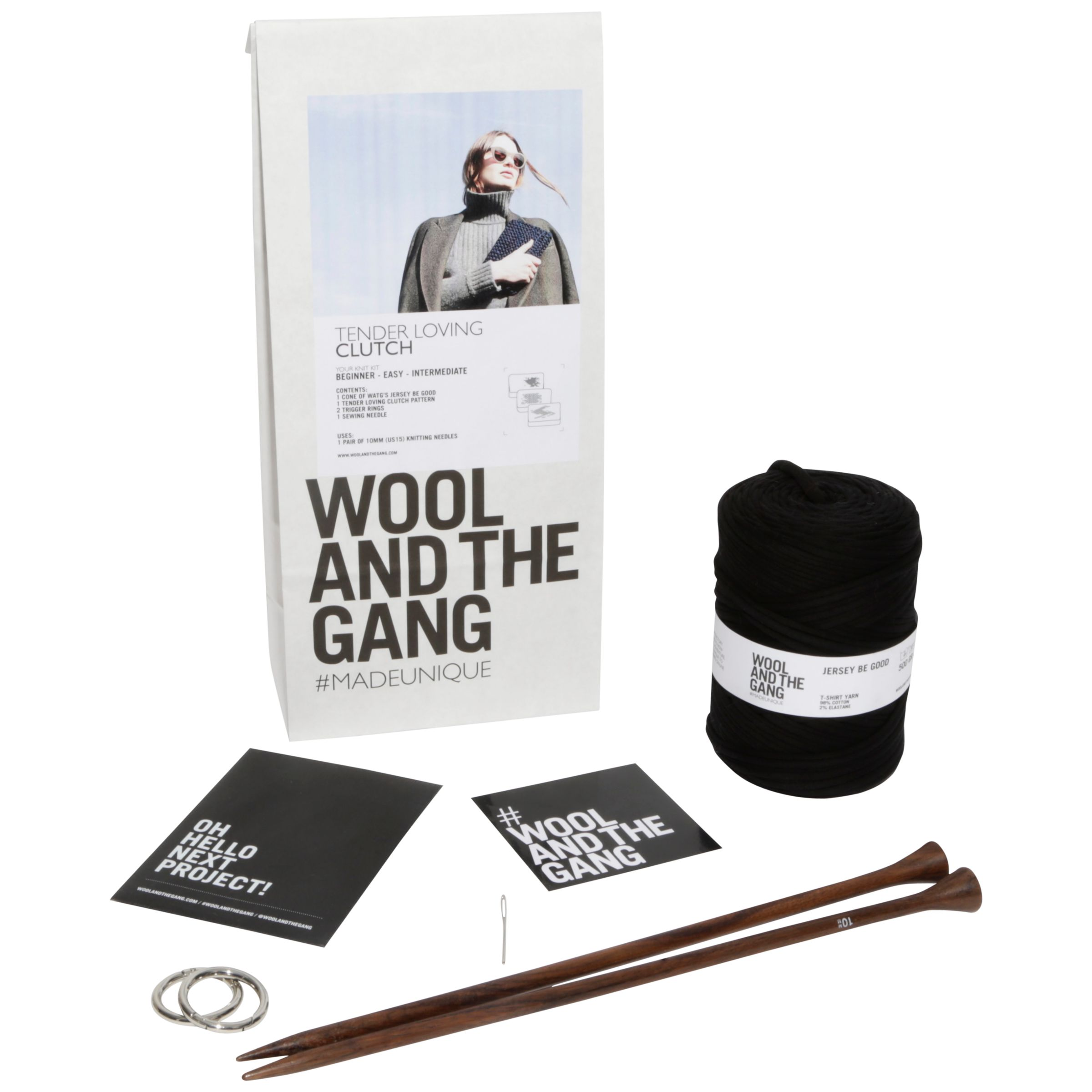 Wool and the Gang Wool and the Gang Tender Loving Clutch Bag Knitting Kit, Black