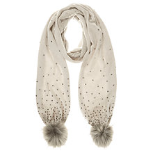 Buy Mint Velvet Embellished Jersey Scarf With Faux Fur Poms, Neutral Online at johnlewis.com