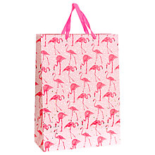 Buy John Lewis Foiled Flamingo Large Gift Bag, Pink Online at johnlewis.com