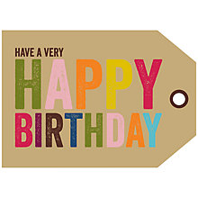 Buy Dear Henry Giant Happy Birthday Kraft Luggage Tag, Pack of 10 Online at johnlewis.com