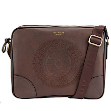 Buy Ted Baker Donboss Embossed Messenger Bag, Chocolate Online at johnlewis.com