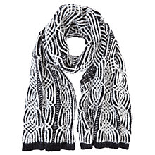 Buy Mint Velvet Cable Scarf, Black/Cream Online at johnlewis.com