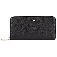 Buy DKNY Chelsea Vintage Leather Zip Around Purse, Black Online at johnlewis.com