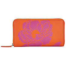 Buy John Lewis Graphic Flower Leather Coin Purse, Orange / Pink Online at johnlewis.com