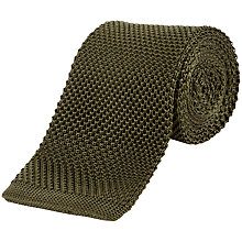 Buy Jaeger Knitted Silk Tie, Olive Online at johnlewis.com