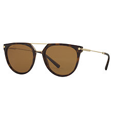 Buy Bvlgari BV7029 Polarised Aviator Sunglasses, Tortoise Online at johnlewis.com