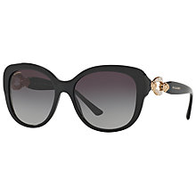 Buy Bvlgari BV8180B Embellished Square Sunglasses, Black/Grey Gradient Online at johnlewis.com