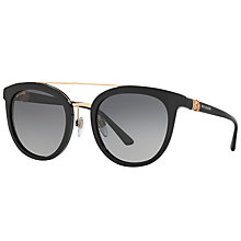Buy Bvlgari BV8184B Polarised Round Sunglasses, Matte Black/Grey Gradient Online at johnlewis.com