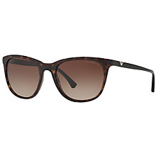 Buy Emporio Armani EA4086 Square Sunglasses, Tortoise/Brown Gradient Online at johnlewis.com