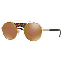 Buy Giorgio Armani AR6047 Round Sunglasses, Gold/Mirror Brown Online at johnlewis.com