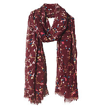 Buy Fat Face Bird Print Scarf, Wine Online at johnlewis.com