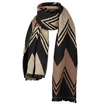 Buy Fat Face Ellen Brushed Zigzag Print Scarf, Black/Tan Online at johnlewis.com
