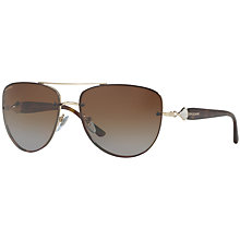 Buy Bvlgari BV6086B Aviator Sunglasses, Tortoise/Brown Gradient Online at johnlewis.com