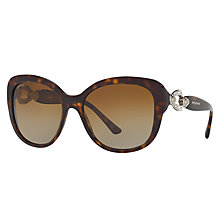 Buy Bvlgari BV8180B Embellished Polarised Square Sunglasses, Tortoise/Brown Gradient Online at johnlewis.com