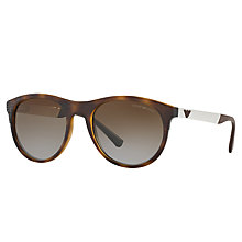 Buy Emporio Armani EA4084 Polarised Oval Sunglasses, Tortoise/Brown Gradient Online at johnlewis.com