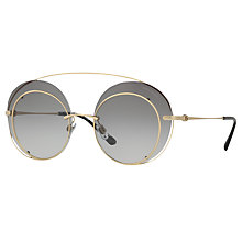 Buy Giorgio Armani AR6043 Round Sunglasses, Gold/Grey Gradient Online at johnlewis.com