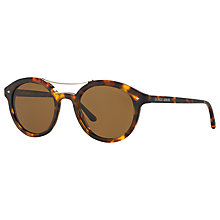 Buy Giorgio Armani AR8007 Frames of Life Polarised Round Sunglasses, Tortoise/Brown Online at johnlewis.com