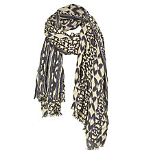 Buy Fat Face Batik Print Scarf, Cream/Navy Online at johnlewis.com