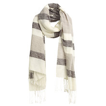 Buy Fat Face Lottie Woven Stripe Scarf, Taupe/Cream Online at johnlewis.com