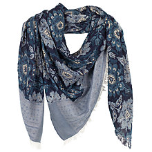 Buy Fat Face Floral Damask Jacquard Scarf, Navy Online at johnlewis.com
