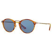 Buy Persol PO3166S Calligrapher Edition Oval Sunglasses, Havana/Blue Online at johnlewis.com