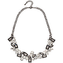 Buy Adele Marie Faceted Cubic Zirconia Statement Necklace, Silver/Black Online at johnlewis.com