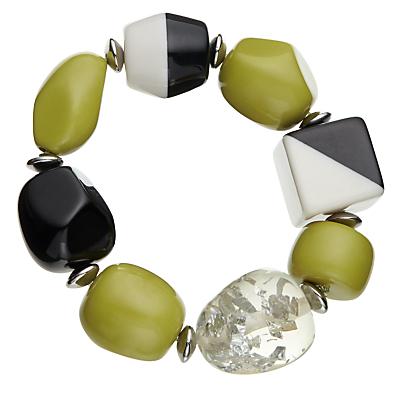 John Lewis Outsize Bead Stretch Bracelet, Black/Chartreuse