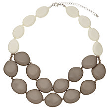 Buy John Lewis Double Beaded Short Necklace, Taupe/Off White Online at johnlewis.com