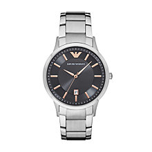 Buy Emporio Armani AR2514 Men's Date Bracelet Strap Watch, Silver/Grey Online at johnlewis.com