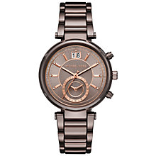 Buy Michael Kors MK6393 Women's Sawyer Chronograph Date Bracelet Strap Watch, Bronze Online at johnlewis.com