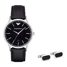 Buy Emporio Armani AR8035 Men's Date Leather Strap Watch and Cufflinks Set, Black Online at johnlewis.com