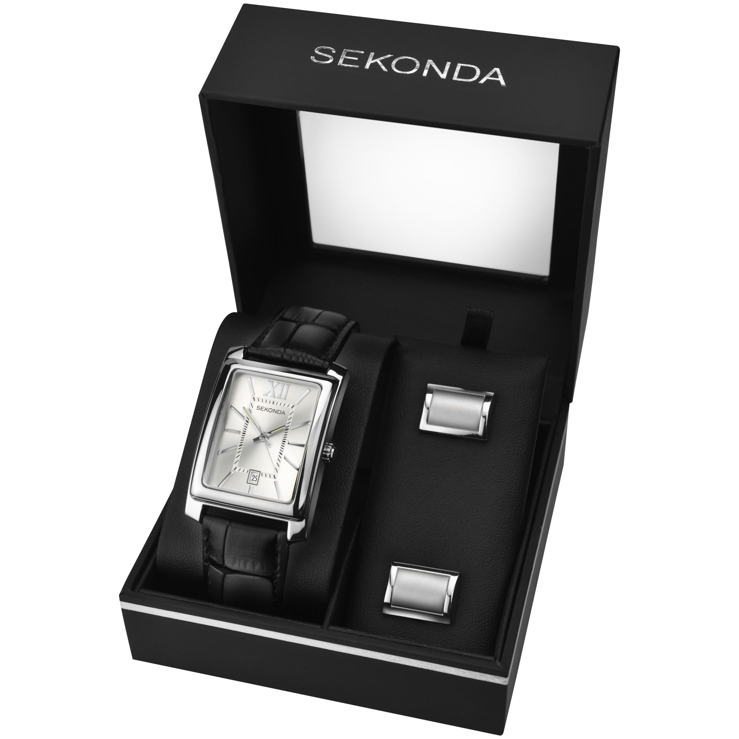 Sekonda Sekonda 3801G Men's Rectangular Leather Strap Watch and Cufflinks Gift Set, Black/Silver