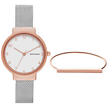 Buy Skagen SKW1080 Women's Ancher Mesh Bracelet Strap Watch and Bangle Set, Silver/White Online at johnlewis.com