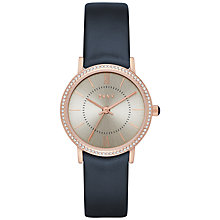 Buy DKNY NY2553 Women's Willoughby Leather Strap Watch, Navy/Silver Online at johnlewis.com