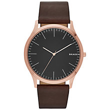 Buy Skagen SKW6330 Men's Jorn Leather Strap Watch, Dark Brown/Black Online at johnlewis.com