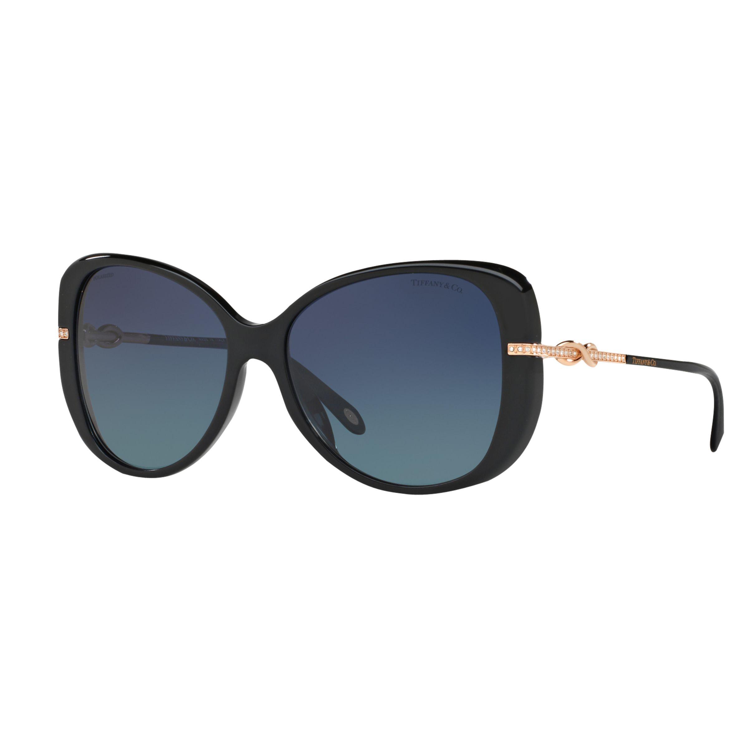 Tiffany & Co Tiffany & Co TF4126B Polarised Embellished Cat's Eye Sunglasses, Polished Black/Blue Gradient