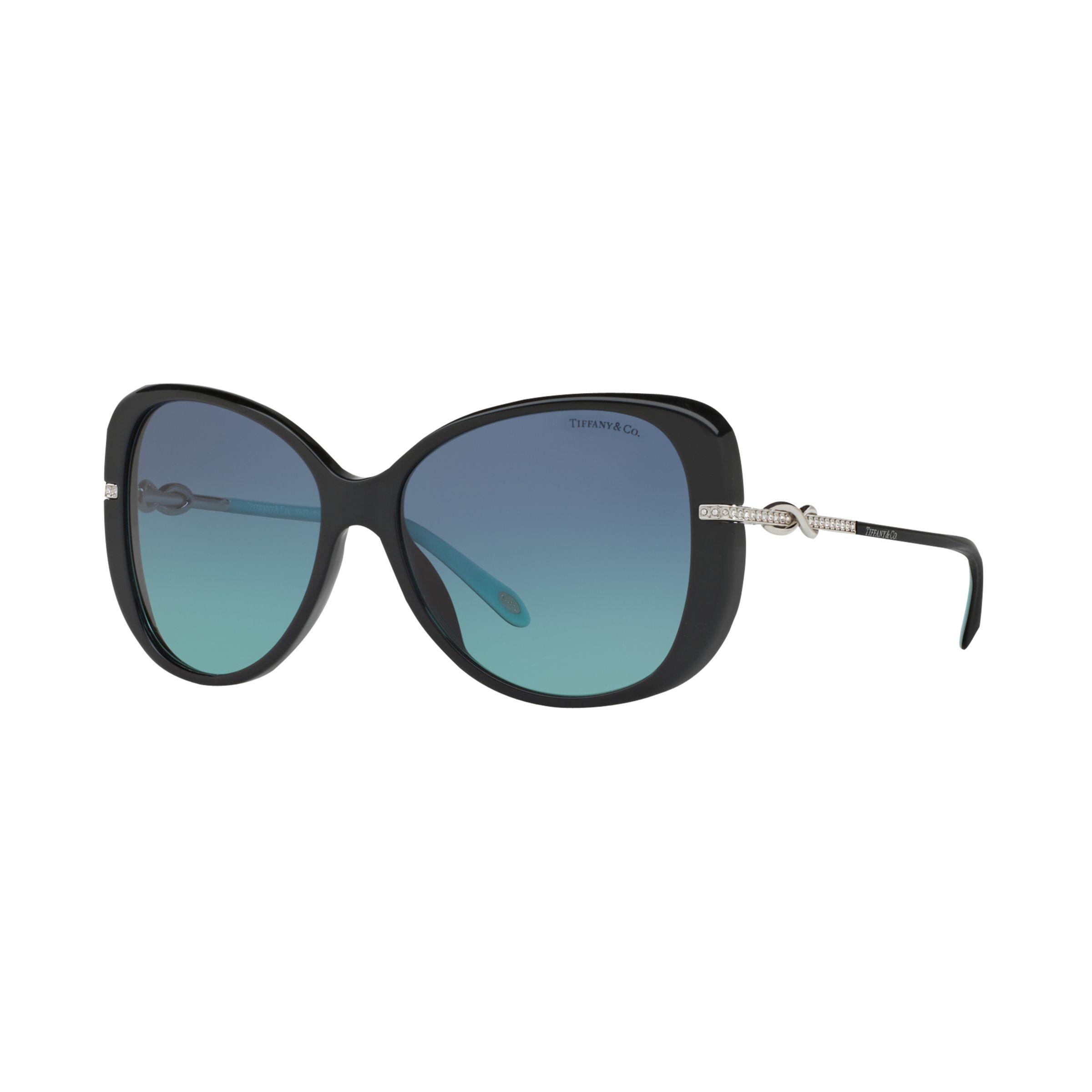 Tiffany & Co Tiffany & Co TF4126B Embellished Cat's Eye Sunglasses, Black/Blue Gradient