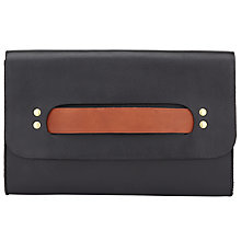 Buy AND/OR Maya Leather Bar Clutch Bag, Black / Tan Online at johnlewis.com